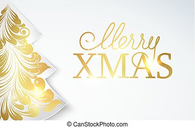 Christmas sale tree with sparks isolated over white background. Merry Christmas sale card.