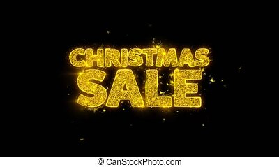 Christmas Sale Typography Written with Golden Particles Sparks Fireworks