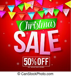 Christmas sale vector banner design with colorful streamers