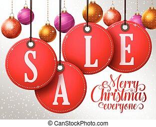 Christmas sale vector design tags