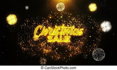 Christmas Sale Wishes Greetings card, Invitation, Celebration Firework Looped