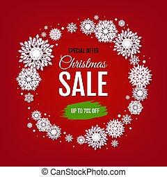Christmas Sale With White Snowflakes
