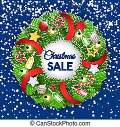 Christmas Sale Wreath with Baubles and Decoration