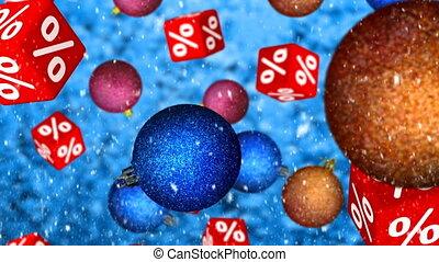 Christmas Sales - Set of bright colorful christmas balls and...