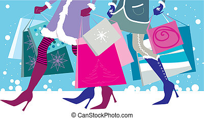 Vector illustration of two girls with shopping bags in winter