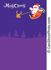 Christmas santa and deer with christmas text on the night background