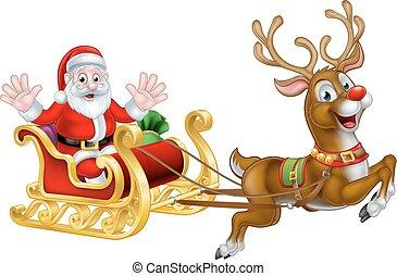 Christmas Santa and Reindeer Sleigh - Cartoon Santa Claus in...