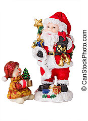 Christmas Santa and santa baby toy carring presents. Isolated