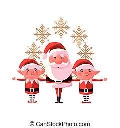 christmas santa claus and elves decoration