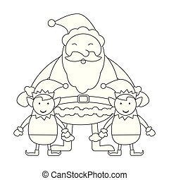 Christmas santa claus cartoon black and white
