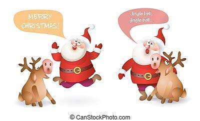 Christmas Santa Claus - Set of Christmas Santa Claus with...