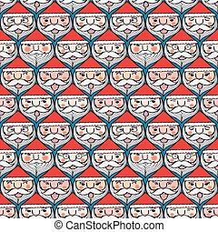 Christmas santa claus emotion face seamless pattern