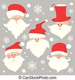 Christmas Santa Claus faces in red caps . Old men in red hat with white beard and mustache .Funny characters. Holiday season icons set. Flat paper cut style vector illustration.