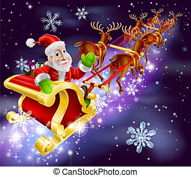 Christmas Santa Claus flying sleigh with gifts