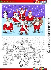 Christmas Santa Claus group coloring book