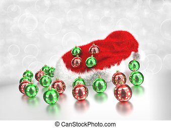 Christmas santa claus hat with baubles. 3D render