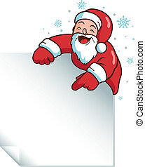 Christmas Santa Claus holding a sign. Vector illustration