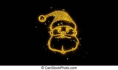 Christmas Santa Claus Mask Written with Golden Particles Sparks Fireworks