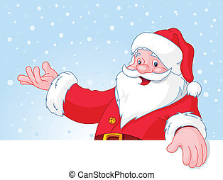 Christmas Santa Claus over blank greeting (place) card with ...