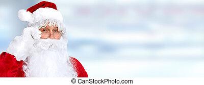 Santa claus - Christmas Santa claus portrait over blue ...