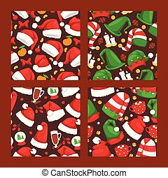 Christmas Santa Claus red hat vector noel seamlesss pattern background illustration New Year Christians Xmas party design decoration hats