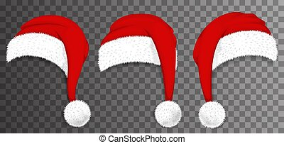 Christmas Santa Claus red hats isolated on transparent background. Vector illustration