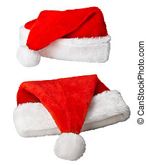 Christmas Santa Claus red hats on white