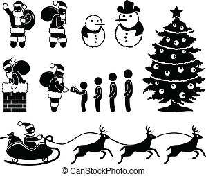 Christmas Santa Claus Reindeer - A set of pictogram about...