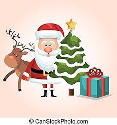 christmas santa claus reindeer tree and gift