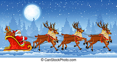Christmas Santa Claus riding on sleigh with reindeers by...