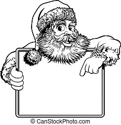 Christmas Santa Claus Sign - Black and white Christmas...
