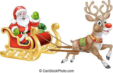 Christmas Santa Claus and his flying sleigh sled and reindeer cartoon