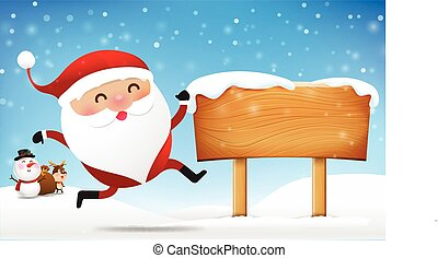 Christmas santa claus snowman and reindeer cartoon smile in front of big blank wooden sign with copy space vector illustration eps10