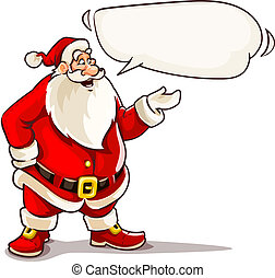 Christmas Santa Claus speaking with message cloud.