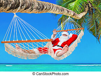 Christmas Santa Claus sunbathing in hammock at tropical palm...