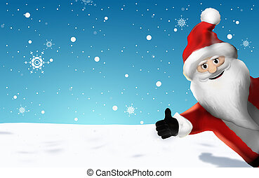 Christmas Santa Claus Thumbs Up 3D Render Cartoon