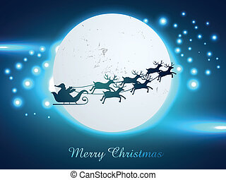 christmas santa claus - vector christmas chariot flying...