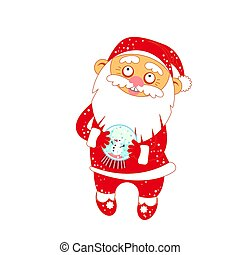 Christmas Santa Claus with a glass ball with snow and snowman