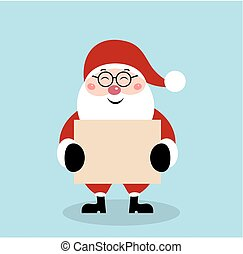 Christmas Santa Claus with blank sheet of paper