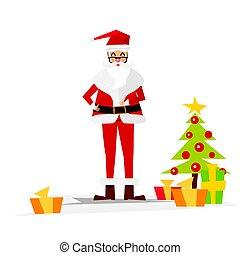 Christmas Santa Claus with Gift Box.