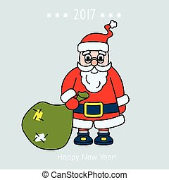 Christmas Santa Claus with gift