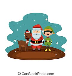 christmas santa claus with reindeer and elf