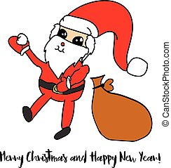 Christmas Santa Claus with sack and snowball