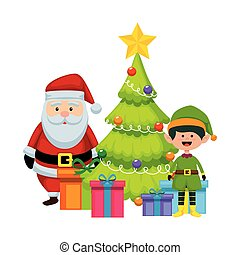 christmas santa claus with tree and elf