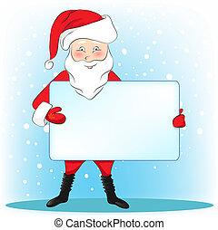Christmas Santa Clause presenting a blank sign