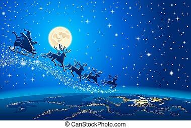 Christmas Santa Closer to the Earth - Santa Sleigh...