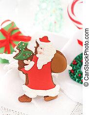 Christmas Santa cookies on the white background