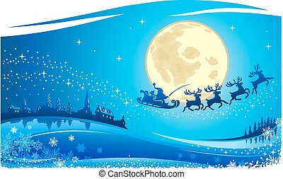 Christmas Santa Flying in the Moon Night