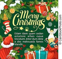 Christmas Santa gifts vector greeting card