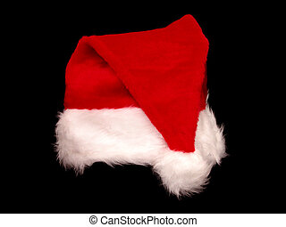 Christmas Santa Hat - Red and white fuzzy santa hat on black...